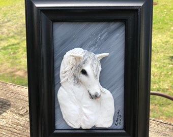 White Horse one of a kind polymer clay art