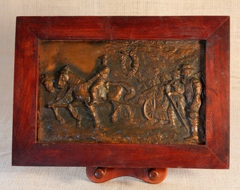 repousse Copper Historical Architecture Art Work Picture Vintage.Vintage Embossed, Repousse Copper Memory Organizer, horses, wagon, clothing