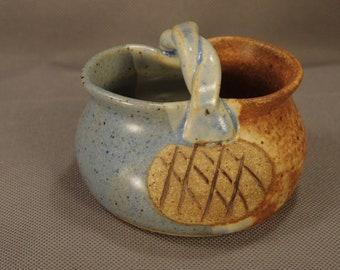 Hickory Flat Pottery (Clarkesville, GA)-Signed Cindy Angliss: Small Stoneware Basket/Mini Planter
