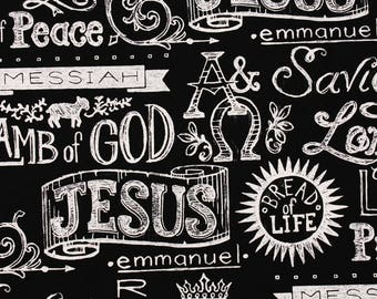 King of Kings Christian Faith God jesus Bible Religious Fabric by the Half Yard