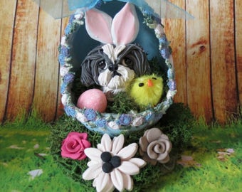 Shih Tzu Bunny in Easter Egg Grey / (blue) and white READY to SHIP! One of a Kind hand sculpted by Sally's Bits of Clay