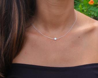 Opal necklace, white opal necklace, opal silver necklace, opal, tiny dot necklace, opal bead necklace dot necklace white opal jewelry