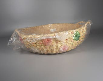 """Vintage 10"""" Round Raffia Woven Straw Basket Casserole Carrier with Handles Made in Philippines, Never Used"""