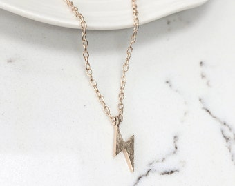 Lightening Bolt Strike Charm Pendant Dainty Necklace - Gold or Silver Chain