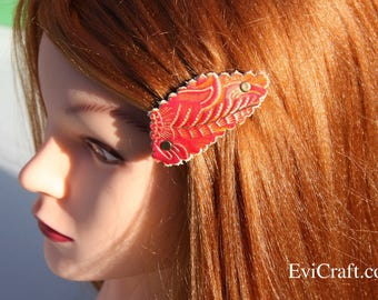 Gold and red Leather French hair barrette, Leather Hair clip, women Hair Accessory, embossed flowers gold hair accessory Evicraft