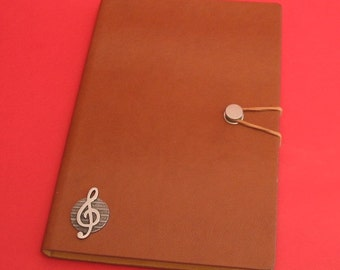 Treble Clef Hand Cast Pewter Motif on A5 Tan Journal Piano Notebook Musical Gift