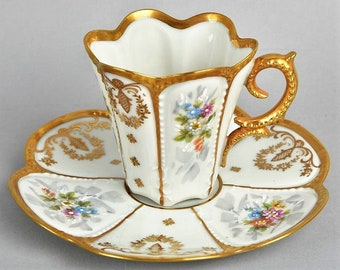 Reserved SUPERB LIMOGES Cabinet Cup(s) And Saucer(s)  Hand Gilded And Painted A True Treasure, A perfect Gift