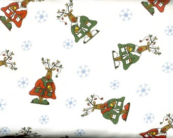 Christmas reindeer cotton FLANNEL, sold by ( multiple lengths)  #244