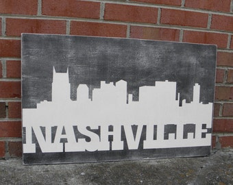 Nashville skyline wood sign, Tennnessee sign, Nashville skyline art