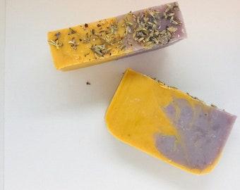 Lavender Lemongrass All Natural Soap, Handmade Soap, Cold Process Soap, Vegan, Bar Soap)