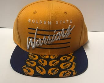 Golden State Warrior yellow snapback hat with African Fabric custom brim