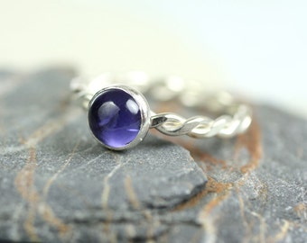 Gem Twist Ring with Iolite - Sterling Silver and 6mm Gemstone Rope Ring | Gem Ring | Stacking Rings