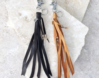 Jane (BLACK or TAN) keychain - leather fringe tassel with silver clip for purse or pants