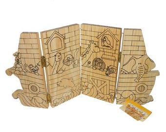 DIY Wood Noah's Ark, Paint Your Own Noah's Ark, Wood Crafts, DIY Kid's Crafts, Kid's Wood Crafts, Craft Supplies by NewYorkTreasures on Etsy