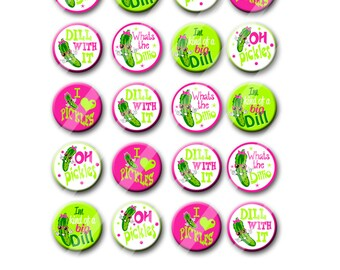 Funny Pickle Theme Birthday Party Favors Pin Back Button Party Favors 1.25 inch Buttons set