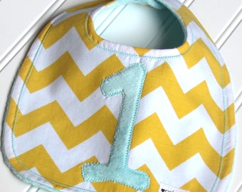 Chevron Birthday Bib First Birthday Bib, Chevron Stripe Bib, Minky Bib, Custom Bib