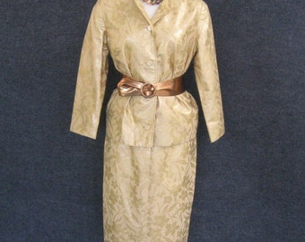 1950s Vintage Cocktail Skirt Suit Gold Metallic Lame Brocade, Jacket & Pencil Skirt Set, Junior Miss of California, Bust 34 Waist 24