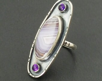 Laguna Lace Agate and Amethyst Ring, purple stone ring, statement ring, large ring,size 8.5 ring, boho, bohemian, purple ring, michele grady