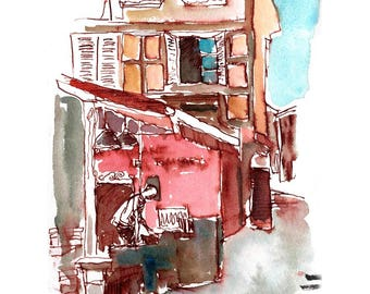 """Print from original watercolor and pen urban sketch, """"Obernai, Alsace"""" by Mark Alan Anderson."""