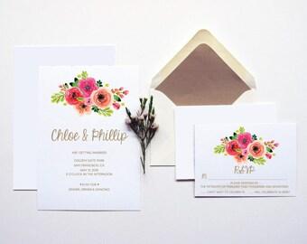 Wedding Bouquet Wedding Invitation Suite | Printable Invitation Template | INSTANT DOWNLOAD