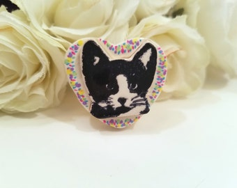 Tuxedo Cat Heart Pendant or Necklace, Pin or Fridge Magnet, Colorful Cat Jewelry, Cat Lover Gift, Handmade Polymer Clay