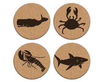 WHALE SHARK LOBSTER Crab Nautical Coastal Cork Coaster Set Of 4 Home Decor Barware Decoration