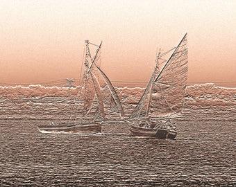 Old sailing ships on parade - photography of Sepia Art