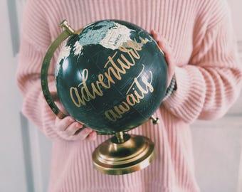Custom Painted Globe, Hand Lettered World Globe, Globe, Custom Globe, Wedding Decor, Guestbook, Desk Globe, wedding globe, Travel Decor,
