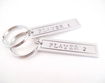 """Key Chain Set - """"Player 1, Player 2"""" Metal Stamped Aluminum Tag Key Chain Set"""