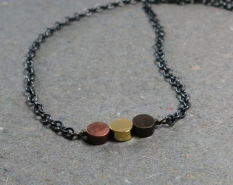 Mixed Metal Necklace Layering Dots Simple Minimalist Oxidized Sterling Silver Gift for Her Cute Jewelry