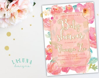 Floral Baby Shower Invitation, Watercolor Floral Invite, Glitter Invitation, Spring Baby Shower Invite, Girl Baby Shower, DIY Printable
