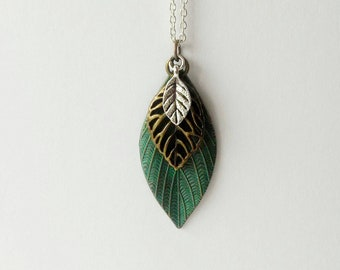 Leaves Mixed Metals Long Necklace