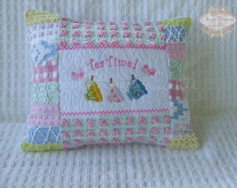 Made To Order 12X16 Travel Pillow Cover Made With Vintage Chenille Tea Time Clothesline
