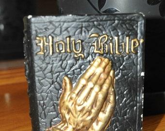 Vintage Bank, Holy Bible, Praying Hands, Book Style Banks, Black, Gold, Religious Church Decor, Christian Decor