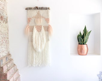 Wall hanging, blush and sand, woven wall hanging, wool