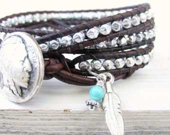 Silver Triple Leather Wrap with Indian Head Button and Eagle Feather, Native American Jewelry, Western Boho Bracelet, Silver Beads