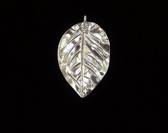2 Pieces Large Leaf Charm, Double Sided Leaf Charms, large leaf pendant Silver Finish 72x44mm 26-20-SS