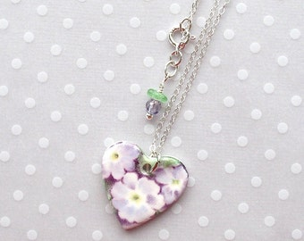 """SALE! Heart Necklace. Lavender Flowers. Porcelain. Glass Beads. Purple. Violet. Ceramic. Green. White. Shabby Chic. 18"""" Sterling Chain"""
