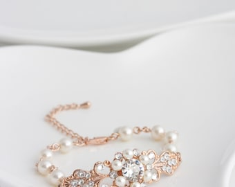 Rose Gold Bridal Bracelet Pearl Rhinestone Wedding Bracelet Vintage Style Filigree Pink Gold Bracelet PARIS