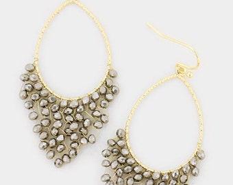 Metal Teardrop Beaded Dangle Earrings - Gold/Hematite