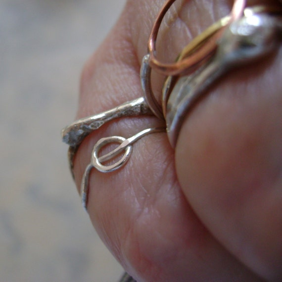 Oh - delicate sterling threaded circle ring - made to order