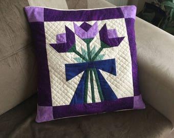 Decorative Pillow, Throw Pillow, Patchwork Pillow, Pillow Cover, Patchwork, Nursery Pillow, Quilted Pillow, Handmade Pillow, Free Shipping