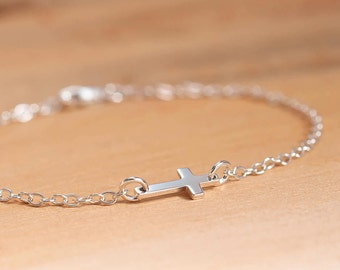 Tiny Sideways Cross Bracelet, Sterling Silver Cross Bracelet, Tiny Cross Bracelet, Religious Gifts, Christian Jewelry, Confirmation Gift