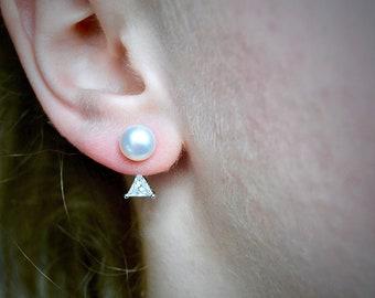 Pearl Crystal Earrings. Front back earring, double sided earring, stud earring, bridal jewelry, bridesmaid earring, triangle, ear jacket