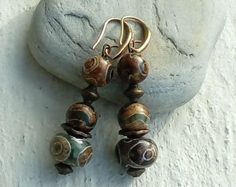 Ethnic trend agate onyx earrings