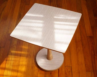 Handy Side Table with Faux Wood Formica Top -- Portable Table with Pedestal Base & Faux Wood Grain -- Handsome Mid Century Furniture