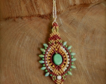 macrame necklace, tribal pendant, boho necklace, red and gold, makrame necklace, turquoise pendant, macrame pendant, ethnic pendant, boho