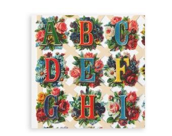 Alphabet scrap relief pictures for paper crafts.  Craft supplies. Decoupage paper. Victorian pictures. ABC letters. Floral alphabet. SR003.