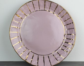 Pink and Yellow Gold Luster Dinner Plate