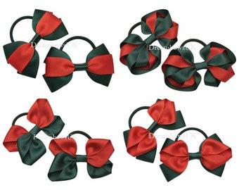 Bottle green and red grosgrain ribbon hair bows, thick hair elastics, School hair accessories, Girls handmade hair bows UK, Fashion bows